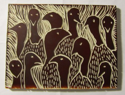 "A custom designed artist block measuring 5"" x 7"" depicts 12 turkeys. By Diane DesMarias (New Hampshire)."