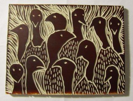 "A custom designed artist block measuring 5"" x 7"" depicts 12 turkeys. By Diane DesMarias (New Hampshire)."