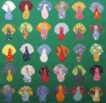 Fabric cutout turkeys by Abbie Rogers (North Carolina).