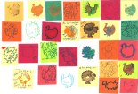 """Attendees at the Animal Voices (British Columbia) Annual Thanksliving Potluck drew and stamped turkeys on pre-cut 2"""" squares of color paper."""
