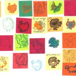 "Attendees at the Animal Voices (British Columbia) Annual Thanksliving Potluck drew and stamped turkeys on pre-cut 2"" squares of color paper."