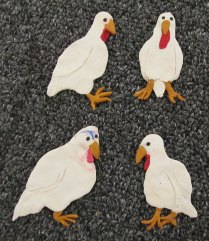 Turkeys made from ovenbaked Sculpty clay by Ashley Cook Healy (Massachusetts).