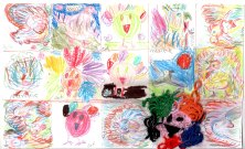 """Tatiana, Maxime, Catherine, and Olga Ioffe, Montreal, Canada Mix media collaboration on one piece of paper. 8-year-old Catherine says, """"Don't eat them!"""""""