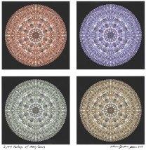 Karen Allen (Maine) used photos of wild turkeys to create this design. The final piece contains 2,144 turkeys.