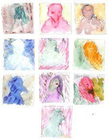 """Teacher Mary Telfer (Illinois) cut 2"""" squares of watercolor paper for her students to paint turkeys. Artwork by Katrina Hertel."""