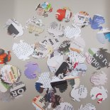 Paper punched turkeys from newspaper and magazines by Mitchell Kunkes (New York).