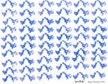 """Love Birds"" stamp carved from pink eraser by Rachel Brumley (California)."