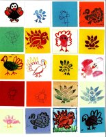 Young artists (ages 1 year old to 8th grade) from the Wintergreen Arts Center (Maine) created 638 turkeys.