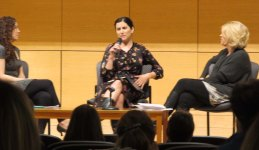 """Caitlin Kelty-Huber and USM professors Lucinda Cole and Sarah Schindler led the round table discussion that followed the screening of """"The Ghosts in Our Machine."""""""