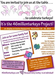 Flyer about 46millionturkeys on exhibit at Evolve.