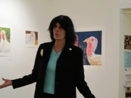 Karen Davis, President of United Poultry Concerns, shared her knowledge and experience about turkeys at the gallery.