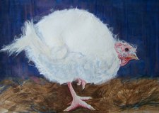 "Happy Thanksgiving 2011 © Cheryl L Miller 12"" X 18"" Watercolor With Rice Paper"