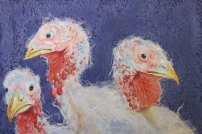 """Happy Thanksgiving 1998 © Cheryl L Miller 12"""" X 18"""" Watercolor With Rice Paper"""