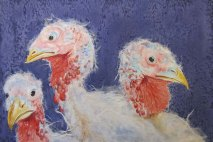 "Happy Thanksgiving 1998 © Cheryl L Miller 12"" X 18"" Watercolor With Rice Paper"