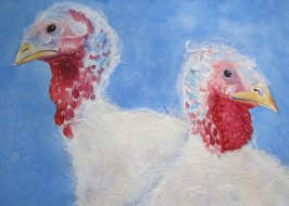 """Happy Thanksgiving 1999 © Cheryl L Miller 12"""" X 18"""" Watercolor With Rice Paper"""