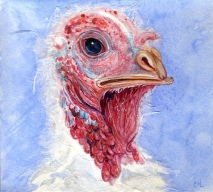 "Happy Thanksgiving 2000 © Cheryl L Miller 5-1/2"" X 6"" Watercolor With Rice Paper"