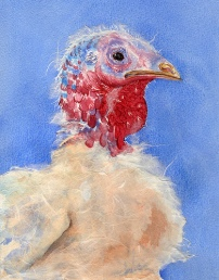 """Happy Thanksgiving 2001 © Cheryl L Miller 10-3/8"""" X 8-1/8"""" Watercolor With Rice Paper"""