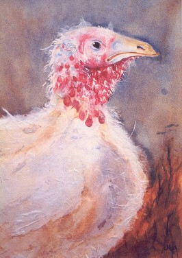 """Happy Thanksgiving 2002 © Cheryl L Miller 14-1/4"""" X 10-1/4"""" Watercolor With Rice Paper"""