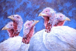 """Happy Thanksgiving 2003 © Cheryl L Miller 18-1/4"""" X 26"""" Acrylic With Rice Paper"""