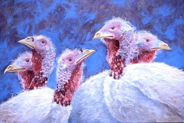 "Happy Thanksgiving 2003 © Cheryl L Miller 18-1/4"" X 26"" Acrylic With Rice Paper"