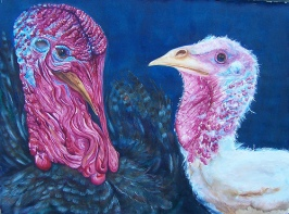 """Happy Thanksgiving 2005 © Cheryl L Miller 22-1/2"""" X 30"""" Watercolor With Rice Paper"""