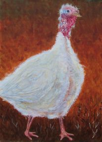 """Happy Thanksgiving 2006 © Cheryl L Miller 30"""" X 22"""" Watercolor With Rice Paper"""
