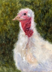 "Happy Thanksgiving 2007 © Cheryl L Miller 16"" X 12"" Watercolor With Rice Paper"