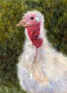 """Happy Thanksgiving 2007 © Cheryl L Miller 16"""" X 12"""" Watercolor With Rice Paper"""