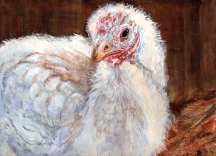 """Happy Thanksgiving 2008 © Cheryl L Miller 9"""" X 12"""" Watercolor With Rice Paper"""