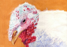 "Happy Thanksgiving 2009 © Cheryl L Miller 12"" X 16"" Watercolor With Rice Paper"