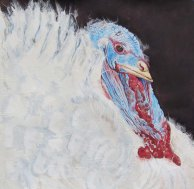 """Happy Thanksgiving 2012© Cheryl L Miller 15"""" X 15"""" Watercolor With Rice Paper"""