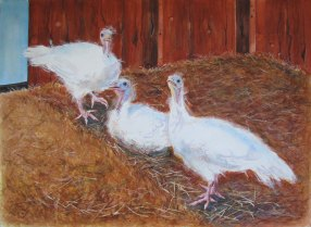 "Happy Thanksgiving 2014 © Cheryl L Miller 22-1/4"" X 30"" Watercolor With Rice Paper"