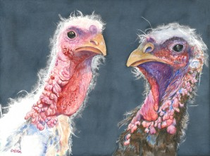 """Happy Thanksgiving 2016 © Cheryl L Miller 12"""" X 16"""" Watercolor With Rice Paper"""